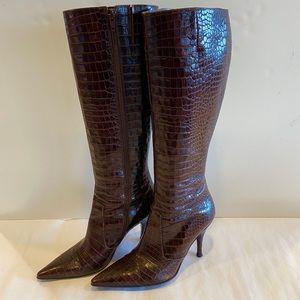 Via Spiga Crocodile embossed Leather boots-sz 7.5M